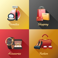 Women shopping design concept set with cosmetics accessories and fashion realistic icons isolated vector illustration