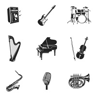 Musical instruments and equipment black decorative icons set isolated vector illustration. Musical Instruments And Equipment Set
