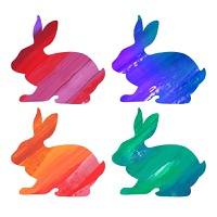 Ester color bunny set. Acrylic vector illustration