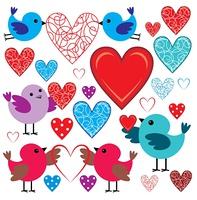 Set of birdies and hearts