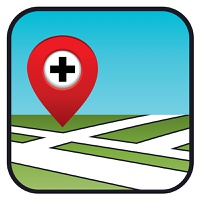 Street map icon with the pointer pharmacies, hospitals. vector, gradient, EPS10