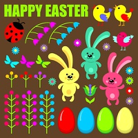 Set of easter eggs,animals and flowers. Vector illustration