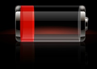 Glossy transparent battery icon red