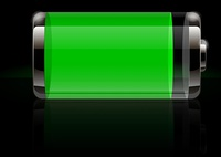 Glossy transparent battery icon green