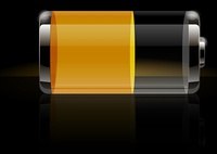 Glossy transparent battery icon yellow
