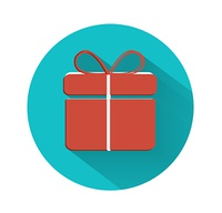 Gift box in flat design