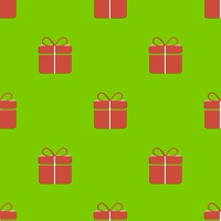 Gift box seamless pattern on green background