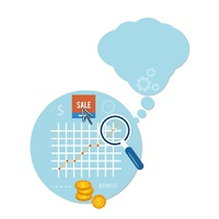 Magnifying glass and chart. Business concept of sale and analyzing