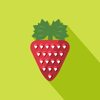 Strawberry icon with shadow in flat design