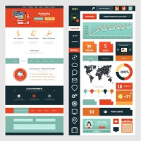 Website page template. Web design. Set of web page with icons for different websites in flat style