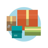 Set of colorful gift boxes with ribbons in flat design style
