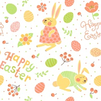 Happy Easter seamless pattern with cute bunnies and eggs. Vector illustration.