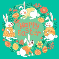 Happy Easter card with cute bunnies and colored eggs. Vector illustration.