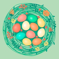 Happy Easter card with colored eggs in nest. Vector illustration.