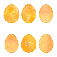 Set of watercolor eggs. Easter design elements. Vector illustration.