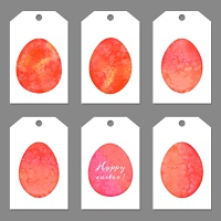 Set of tags for Easter eggs. Watercolor silhouettes eggs. Vector illustration.