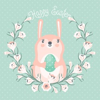 Happy Easter card with cute bunny. Vector illustration.