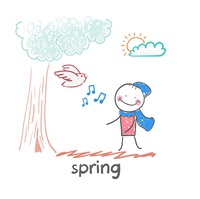 spring. Fun cartoon style illustration. The situation of life.