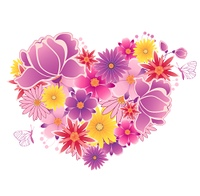 Decorative vector heart of  pink and violet flowers