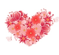 Decorative vector heart of  pink and red flowers