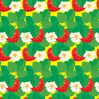Seamless pattern with Strawberries with flowers and leaves.
