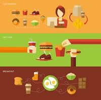 Fast food banner set with breakfast shopping elements isolated vector illustration. Fast Food Banner Set