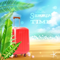 Summer beach background with travel suitcase tropic leaves and seashells vector illustration. Travel Suitcase Background