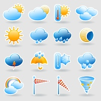 Weather forecast tablet mobile symbols widget icons set with clouds and rainbow abstract flat isolated vector illustration. Weather forecast symbols icons set