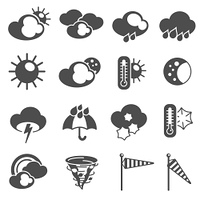 Weather forecast symbols black pictograms set with thermometer and stormy clouds icons abstract graphic isolated vector illustration. Weather forecast symbols icons set black