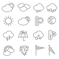 Weather forecast icons outlined pictograms set with rain drops and umbrella symbols black abstract isolated vector illustration. Weather forecast symbols icons set line
