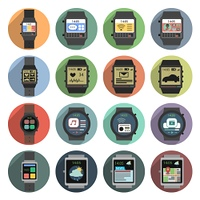 Smart watch modern mobile gadgets flat shadow icons set isolated vector illustration. Smart Watch Icons