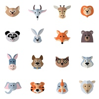 Animals characters flat set with donkey fox rabbit heads isolated vector illustration. Animals Heads Flat