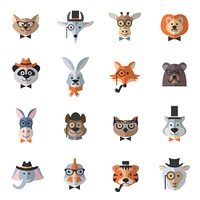 Animal hipster set with flat chicken owl cat with fashion accessories isolated vector illustration. Animal Hipster Set