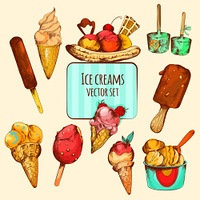 Ice cream varieties sketch colored decorative icons set isolated vector illustration. Ice Cream Sketch Colored