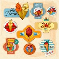 Ice cream delicious frozen dessert paper labels set isolated vector illustration. Ice Cream Labels