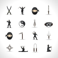 Ninja icons flat set with japanese men in traditional fighting costumes and weapon isolated vector illustration. Ninja Icons Set