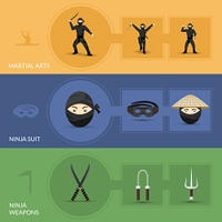 Ninja horizontal banners set with suit weapon and martial arts elements isolated vector illustration. Ninja Banners Set