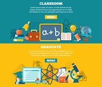 Education horizontal banner set with classroom and graduate elements isolated vector illustration. Education Banner Set