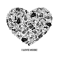 Love music concept with black icons musical instruments in heart shape vector illustration. Love Music Concept