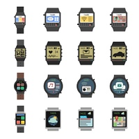 Smart watch modern electronic devices icon flat set isolated vector illustration. Smart Watch Icon Flat