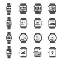 Smart watch for work and fitness icon black set isolated vector illustration. Smart Watch Icon Black Set