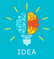 Idea concept with human brain in lightbulb shape flat vector illustration. Brain Idea Concept