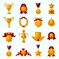 Golden award cups and champion shields with ribbons cartoon icons set isolated vector illustration. Awards Cartoon Set