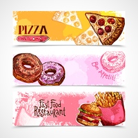 Fast food horizontal banners set with hand drawn donut pizza and hamburger isolated vector illustration. Fast Food Banners