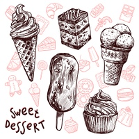 Ice cream and cakes sweets sketch set isolated vector illustration. Ice Cream And Cakes Sketch Set