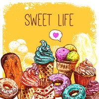Sweet dessert poster with sketch ice cream donuts and cupcakes vector illustration. Sweet Sketch Illustration