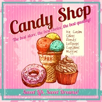 Vintage candy shop poster with sketch donut ice cream and cupcake on textured background vector illustration. Vintage Candy Shop Poster