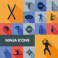 Ninja icons black long shadow set with traditional east weapon isolated vector illustration. Ninja Icons Black Set