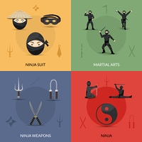 Ninja design concept set with suit weapon and martial arts flat icons isolated vector illustration. Ninja Icons Set