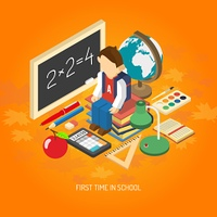 First school day educational isometric poster with scholar sitting on his books with backpack abstract vector illustration. School isometric concept poster